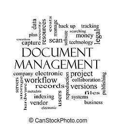 Document Management Word Cloud Concept in black and white...
