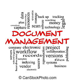 Document Management Word Cloud Concept in red caps with...