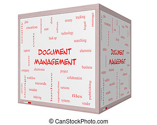 Document Management Word Cloud Concept on a 3D cube...