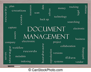 Document Management Word Cloud Concept on a Blackboard with...