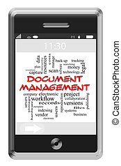 Document Management Word Cloud Concept on Touchscreen Phone...
