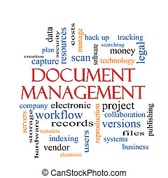 Document Management Word Cloud Concept with great terms such...