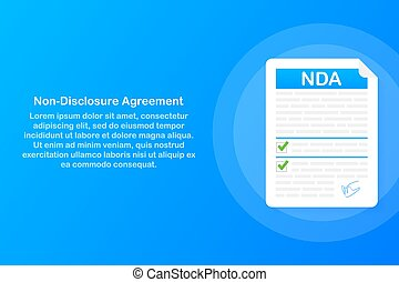 document., niet, nda., overeenkomst, illustration., vector, onthulling, ondertekening