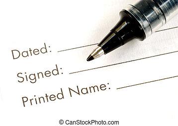 document, nom, légal, signe
