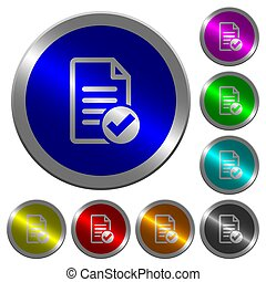 Document ok luminous coin-like round color buttons