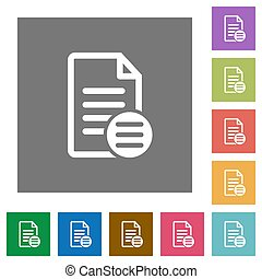 Document options square flat icons