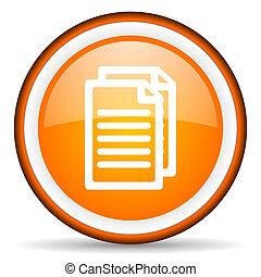 document orange glossy circle icon on white background