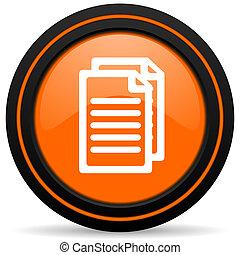 document orange glossy web icon on white background