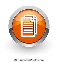 document orange glossy web icon