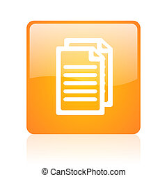 document orange square glossy web icon