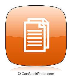 document orange square web design glossy icon
