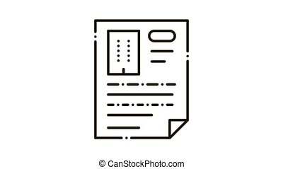 Document Page Icon Animation. black Document Page animated icon on white background