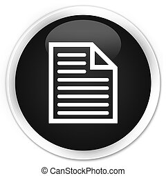 Document page icon black glossy round button