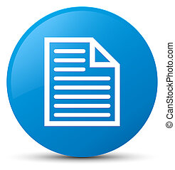 Document page icon cyan blue round button