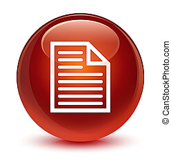 Document page icon glassy brown round button