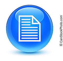 Document page icon glassy cyan blue round button