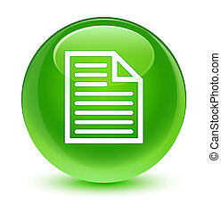 Document page icon glassy green round button