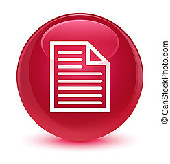 Document page icon glassy pink round button