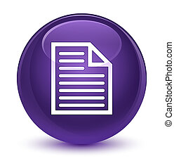 Document page icon glassy purple round button