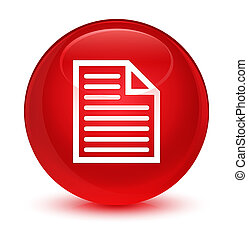 Document page icon glassy red round button