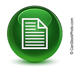 Document page icon glassy soft green round button