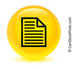 Document page icon glassy yellow round button