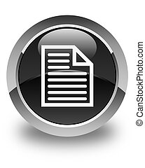 Document page icon glossy black round button