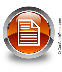 Document page icon glossy brown round button