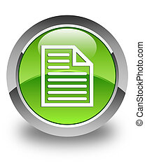 Document page icon glossy green round button