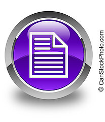 Document page icon glossy purple round button