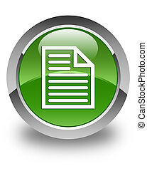 Document page icon glossy soft green round button