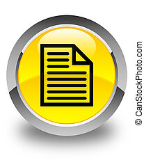 Document page icon glossy yellow round button
