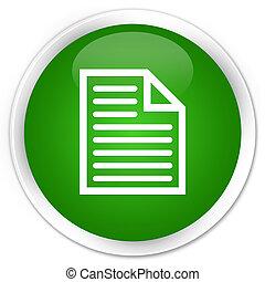 Document page icon premium green round button