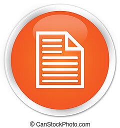 Document page icon premium orange round button