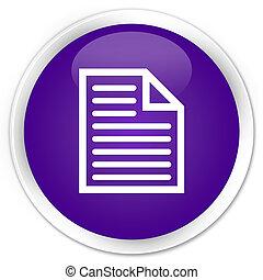 Document page icon premium purple round button