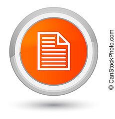 Document page icon prime orange round button