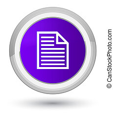 Document page icon prime purple round button