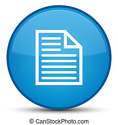 Document page icon special cyan blue round button