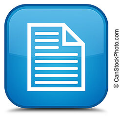 Document page icon special cyan blue square button