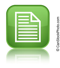 Document page icon special soft green square button
