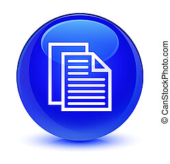 Document pages icon glassy blue round button