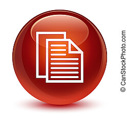 Document pages icon glassy brown round button
