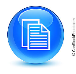 Document pages icon glassy cyan blue round button
