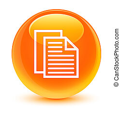 Document pages icon glassy orange round button