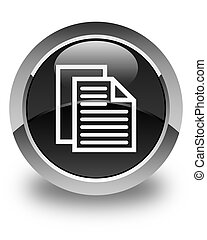 Document pages icon glossy black round button