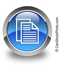 Document pages icon glossy blue round button