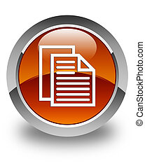 Document pages icon glossy brown round button