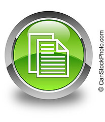 Document pages icon glossy green round button