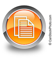 Document pages icon glossy orange round button