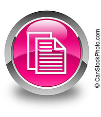 Document pages icon glossy pink round button